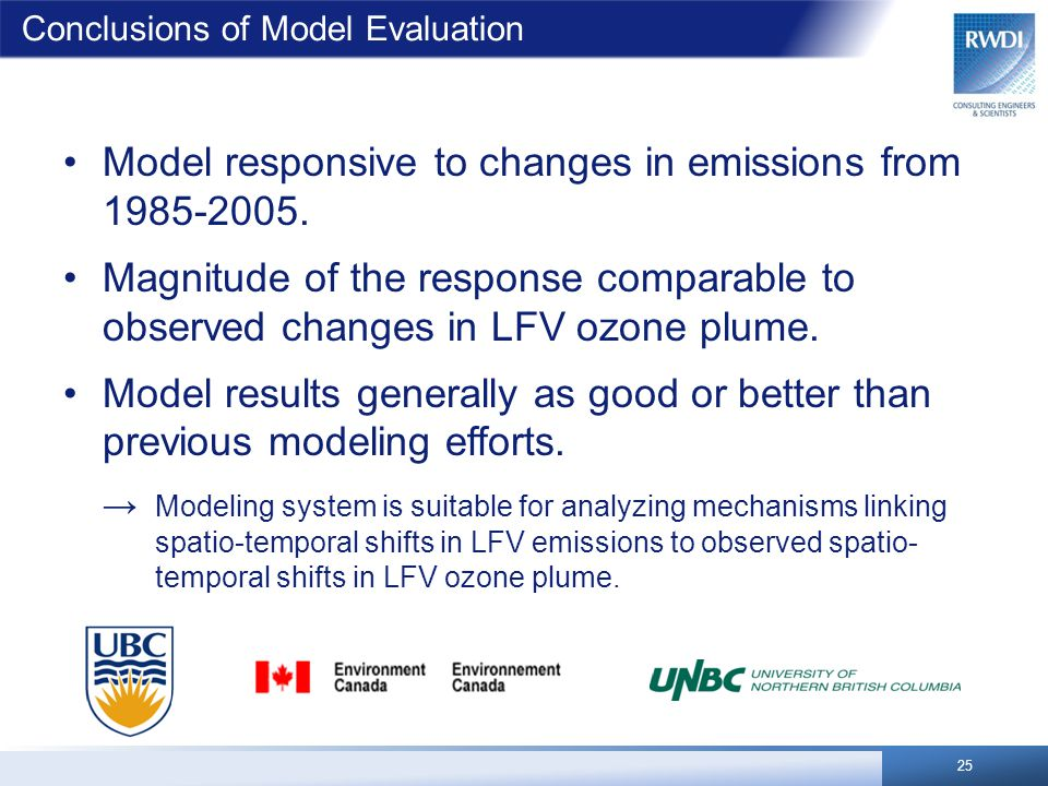 Conclusions of Model Evaluation 25 Model responsive to changes in emissions from 1985-2005. Magnitude of the response comparable to observed changes i