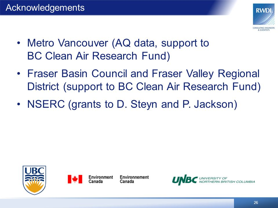 Acknowledgements Metro Vancouver (AQ data, support to BC Clean Air Research Fund) Fraser Basin Council and Fraser Valley Regional District (support to BC Clean Air Research Fund) NSERC (grants to D.