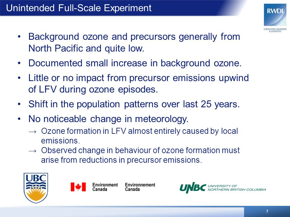 Unintended Full-Scale Experiment Background ozone and precursors generally from North Pacific and quite low.