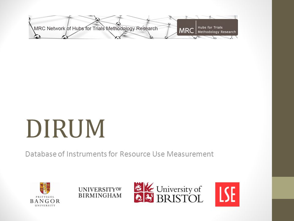 DIRUM Database of Instruments for Resource Use Measurement