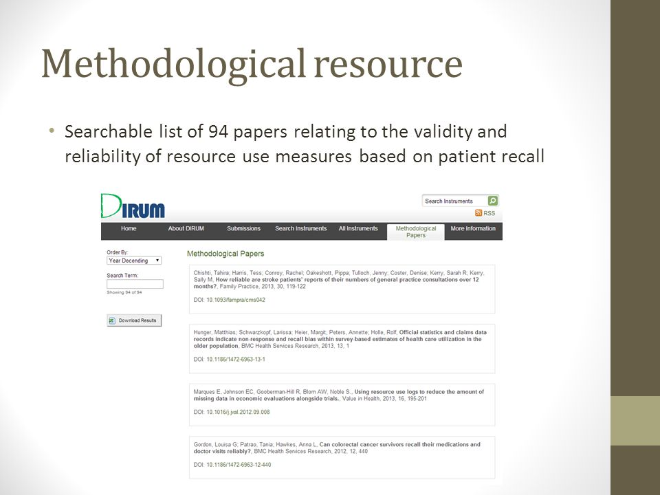 Methodological resource Searchable list of 94 papers relating to the validity and reliability of resource use measures based on patient recall