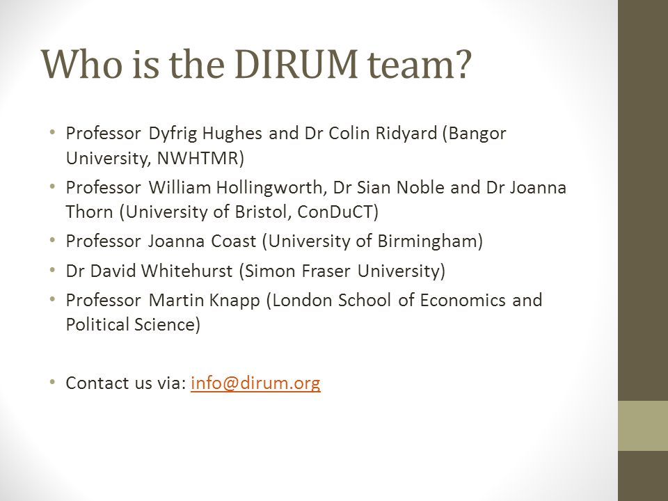 Who is the DIRUM team.