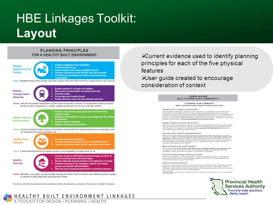HBE Linkages Toolkit: Layout  Current evidence used to identify planning principles for each of the five physical features  User guide created to encourage consideration of context