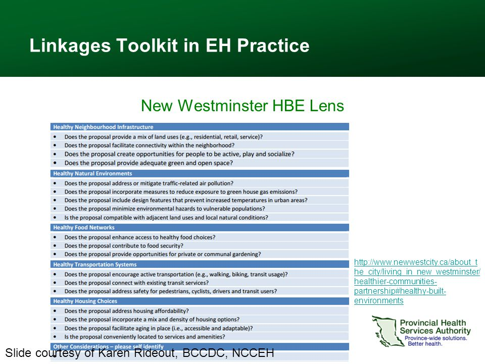 Linkages Toolkit in EH Practice New Westminster HBE Lens 24 http://www.newwestcity.ca/about_t he_city/living_in_new_westminster/ healthier-communities- partnership#healthy-built- environments Slide courtesy of Karen Rideout, BCCDC, NCCEH