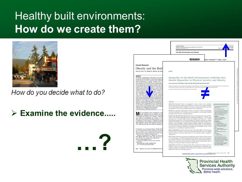 How do you decide what to do?  Examine the evidence..... Healthy built environments: How do we create them? ≠ …?