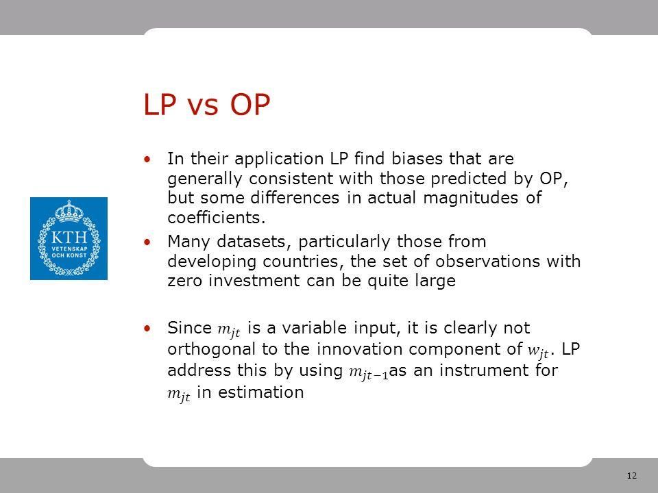 12 LP vs OP