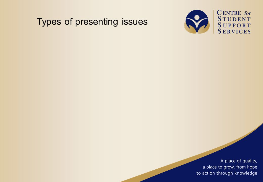 Types of presenting issues