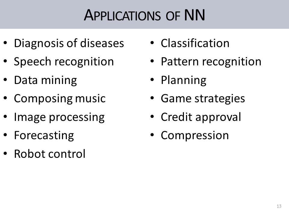 A PPLICATIONS OF NN Diagnosis of diseases Speech recognition Data mining Composing music Image processing Forecasting Robot control Classification Pat