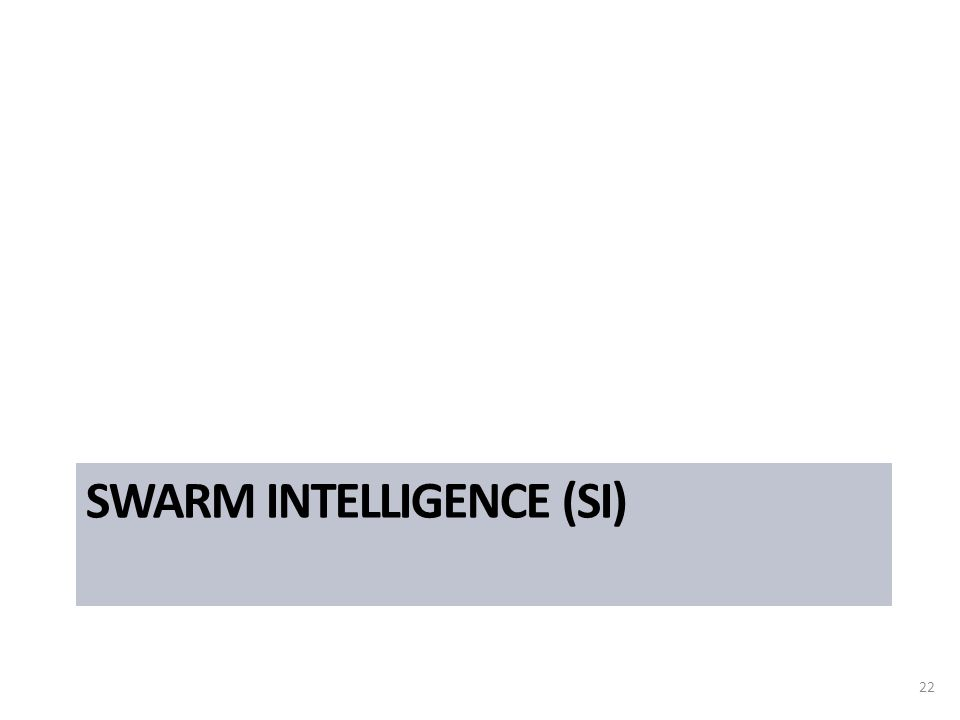 SWARM INTELLIGENCE (SI) 22