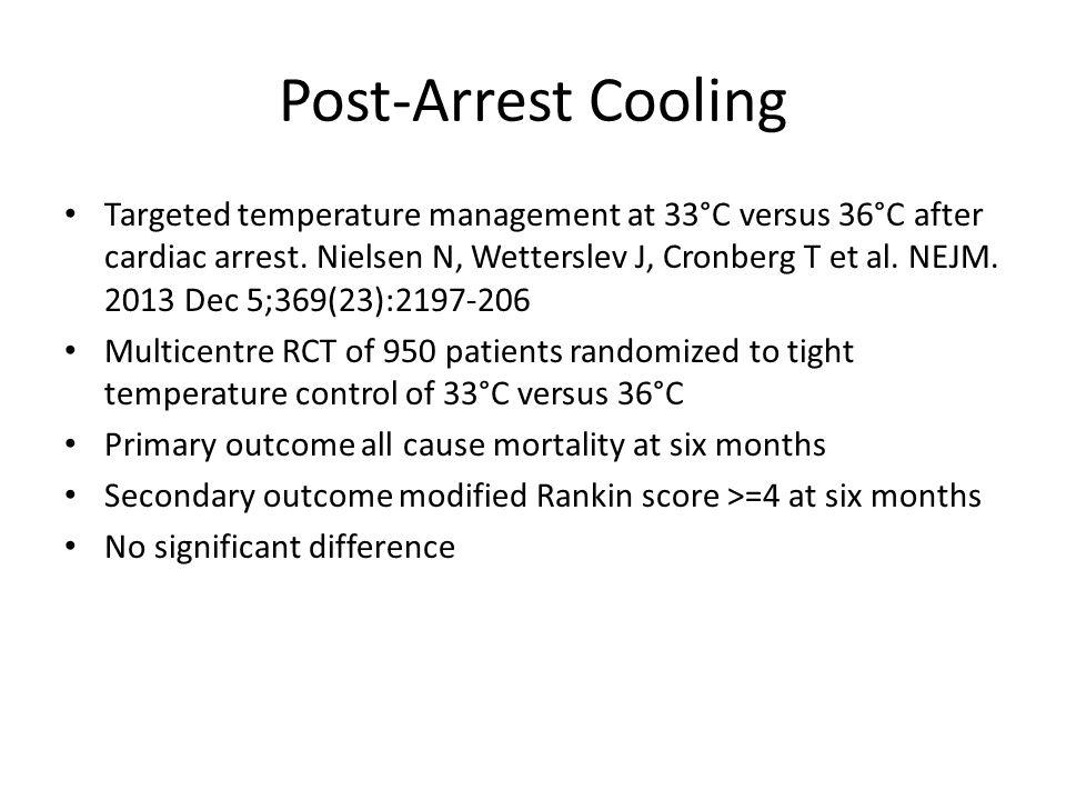 Post-Arrest Cooling Targeted temperature management at 33°C versus 36°C after cardiac arrest.