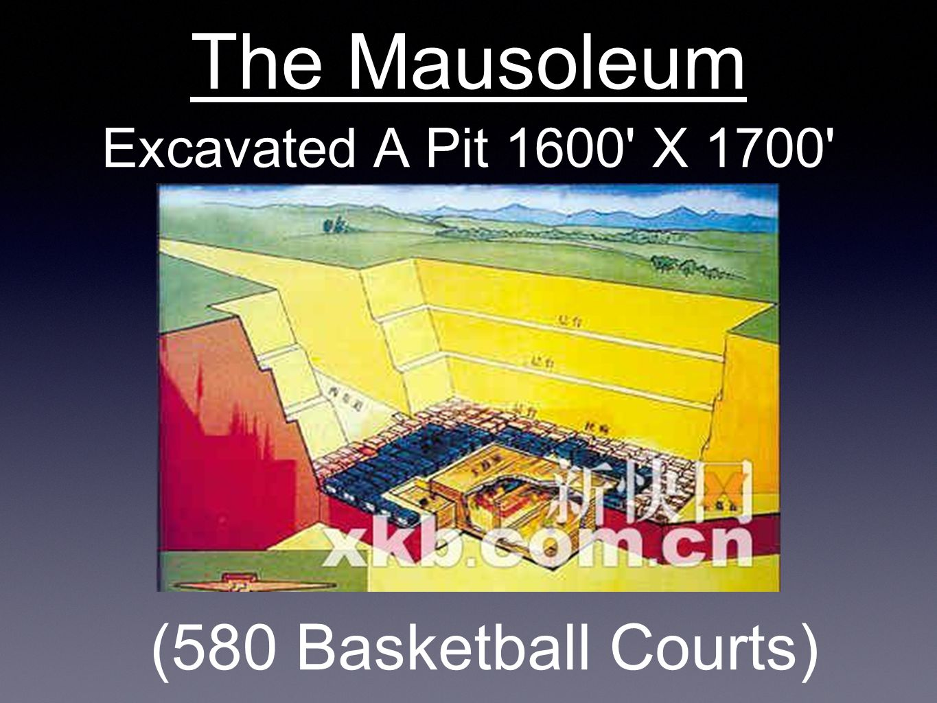 Excavated A Pit 1600' X 1700' The Mausoleum (580 Basketball Courts)