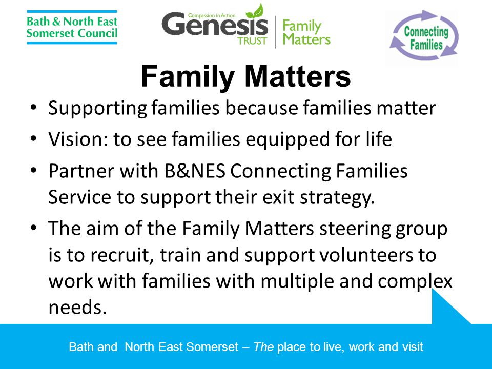 Bath and North East Somerset – The place to live, work and visit Family Matters Supporting families because families matter Vision: to see families eq