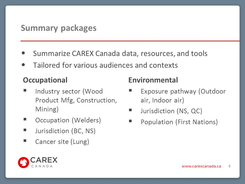 Visit our website: Explore profiles, estimates, tools View video recordings of presentations on various topics Email us at info@carexcanada.ca with questions and requestsinfo@carexcanada.ca Sign up for our e-Bulletin Follow us – and encourage colleagues to follow us – on twitter at @CAREXCanada CAREX Canada – Ways to explore and connect