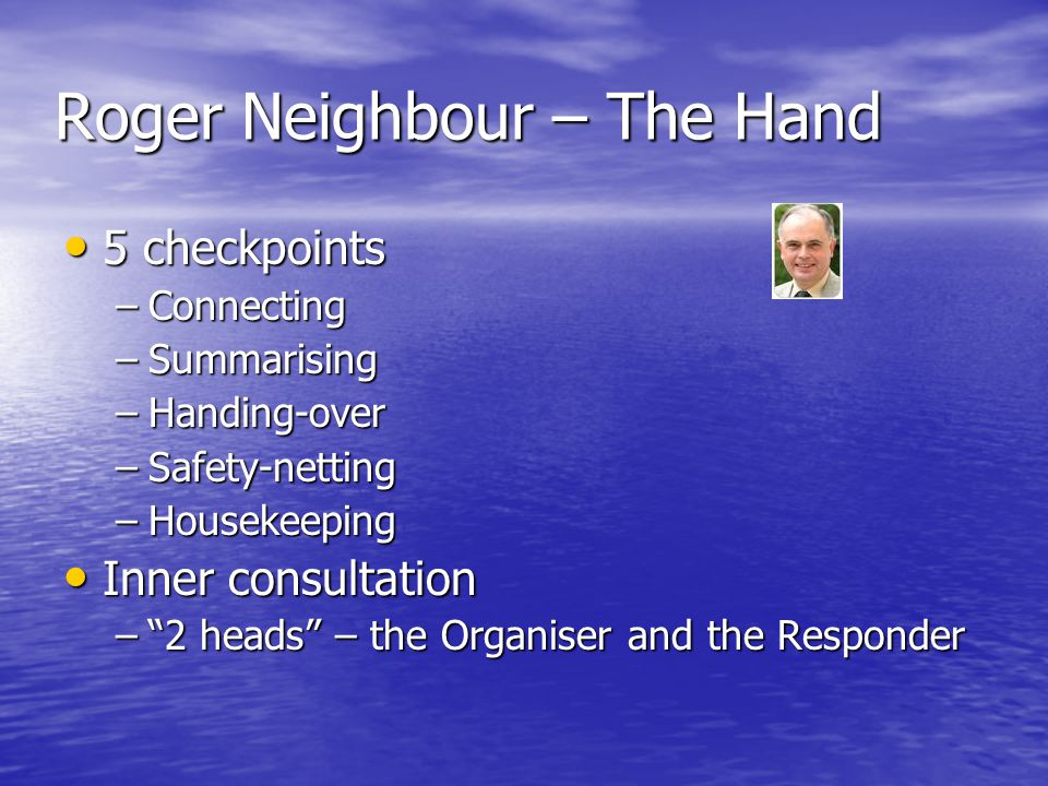 Roger Neighbour – The Hand 5 checkpoints 5 checkpoints –Connecting –Summarising –Handing-over –Safety-netting –Housekeeping Inner consultation Inner c