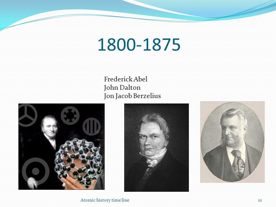 1800-1875 Atomic history time line10 Frederick Abel John Dalton Jon Jacob Berzelius
