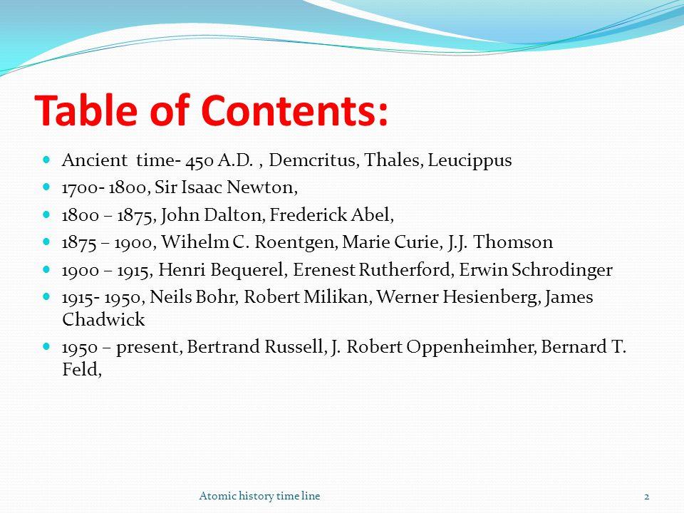 Table of Contents: Atomic history time line2 Ancient time- 450 A.D., Demcritus, Thales, Leucippus 1700- 1800, Sir Isaac Newton, 1800 – 1875, John Dalt