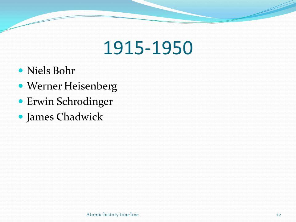 1915-1950 Niels Bohr Werner Heisenberg Erwin Schrodinger James Chadwick Atomic history time line22