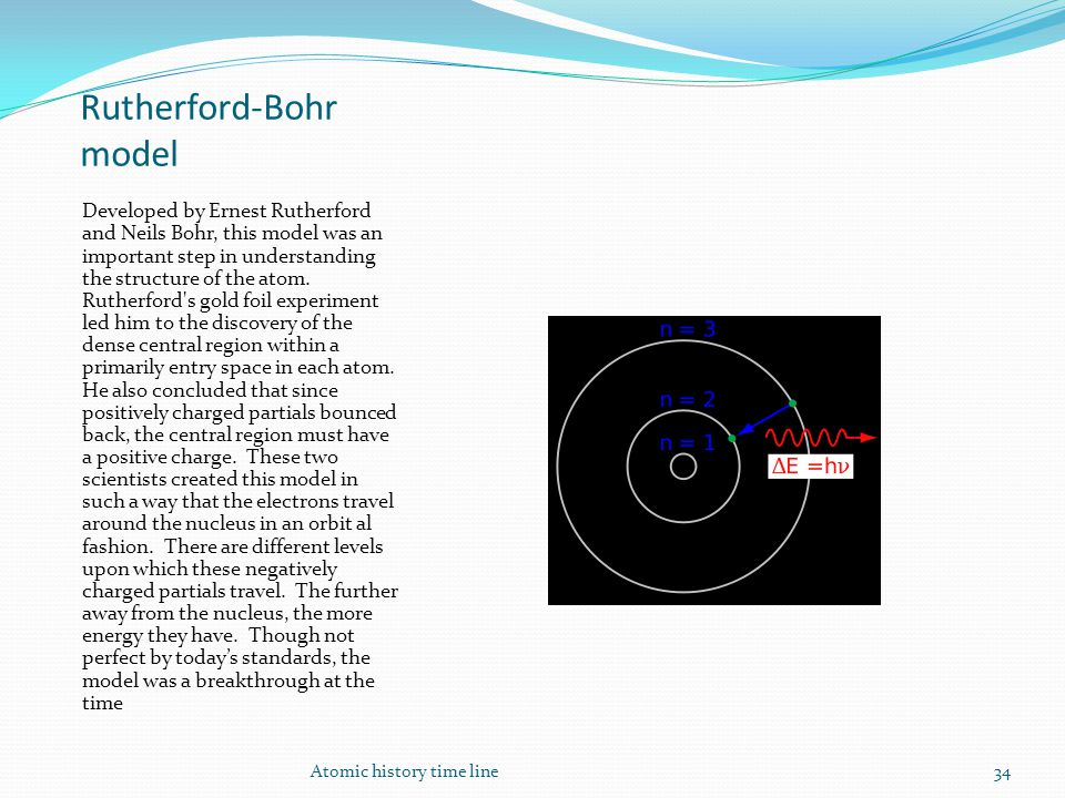 Rutherford-Bohr model Developed by Ernest Rutherford and Neils Bohr, this model was an important step in understanding the structure of the atom.
