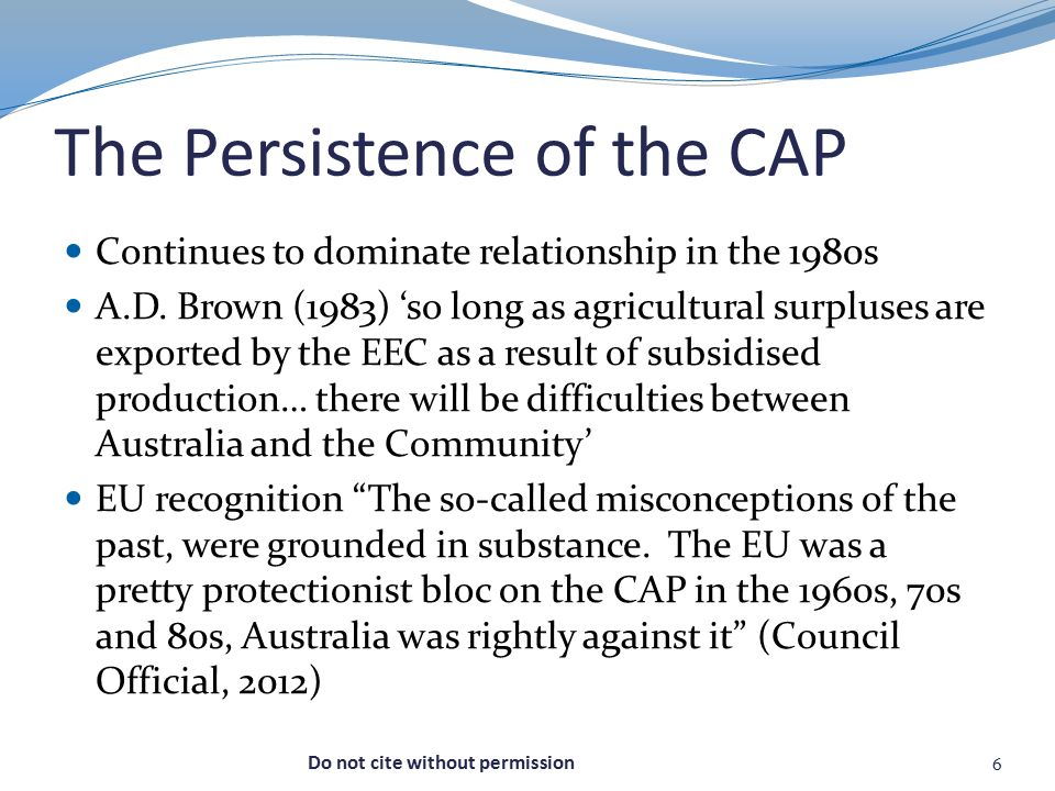 The Persistence of the CAP Continues to dominate relationship in the 1980s A.D.