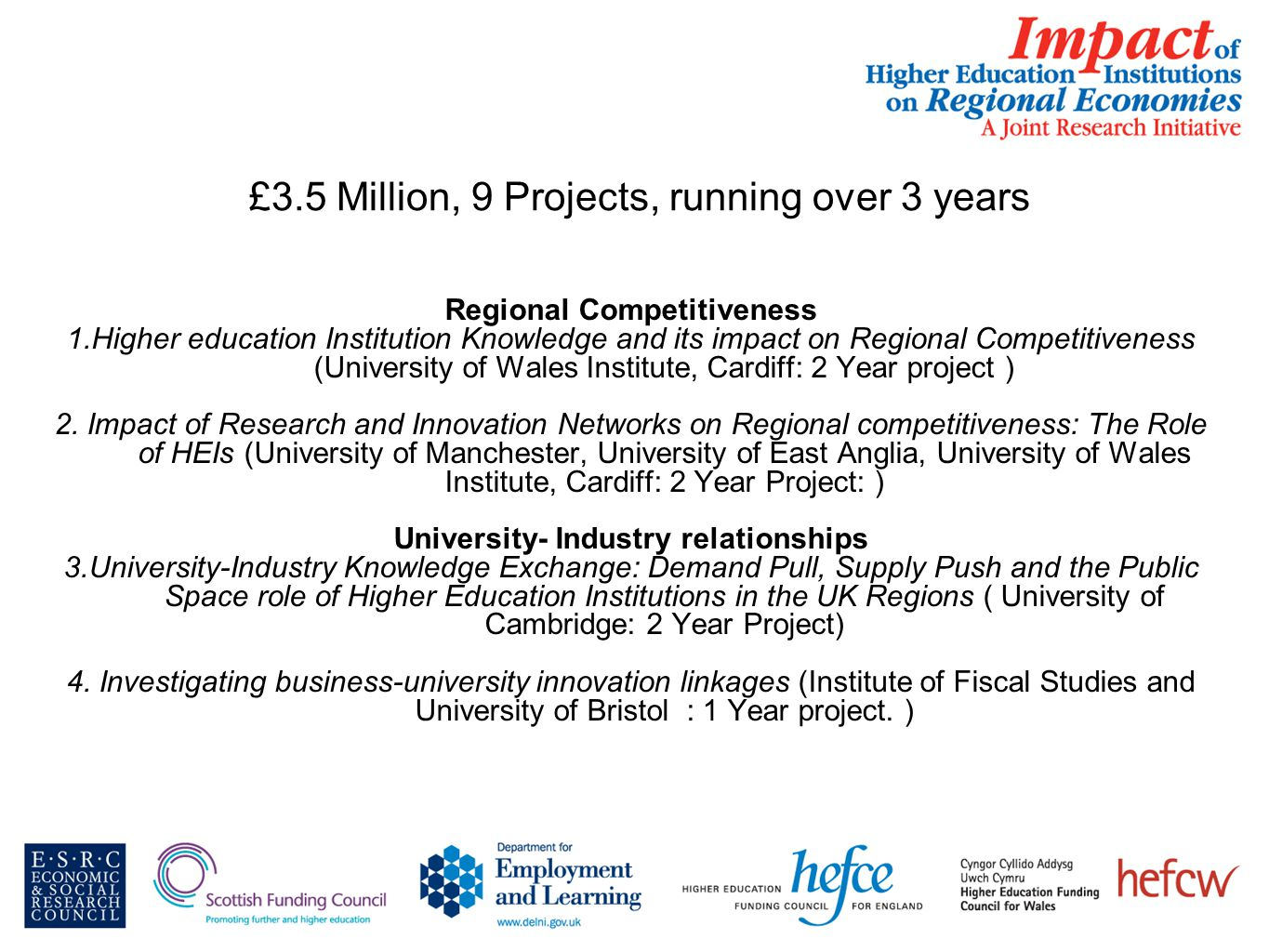 £3.5 Million, 9 Projects, running over 3 years Regional Competitiveness 1.Higher education Institution Knowledge and its impact on Regional Competitiveness (University of Wales Institute, Cardiff: 2 Year project ) 2.