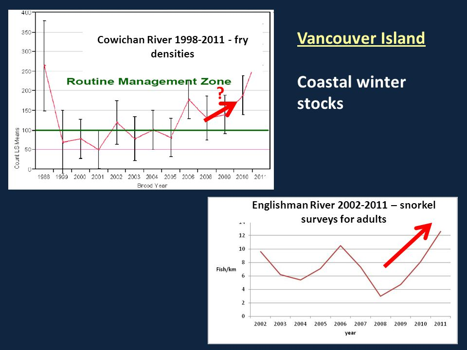 Englishman River 2002-2011 – snorkel surveys for adults Cowichan River 1998-2011 - fry densities Vancouver Island Coastal winter stocks