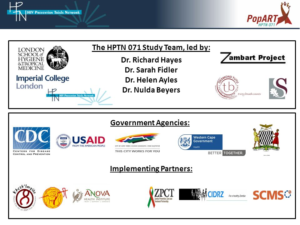 The HPTN 071 Study Team, led by: Dr. Richard Hayes Dr.