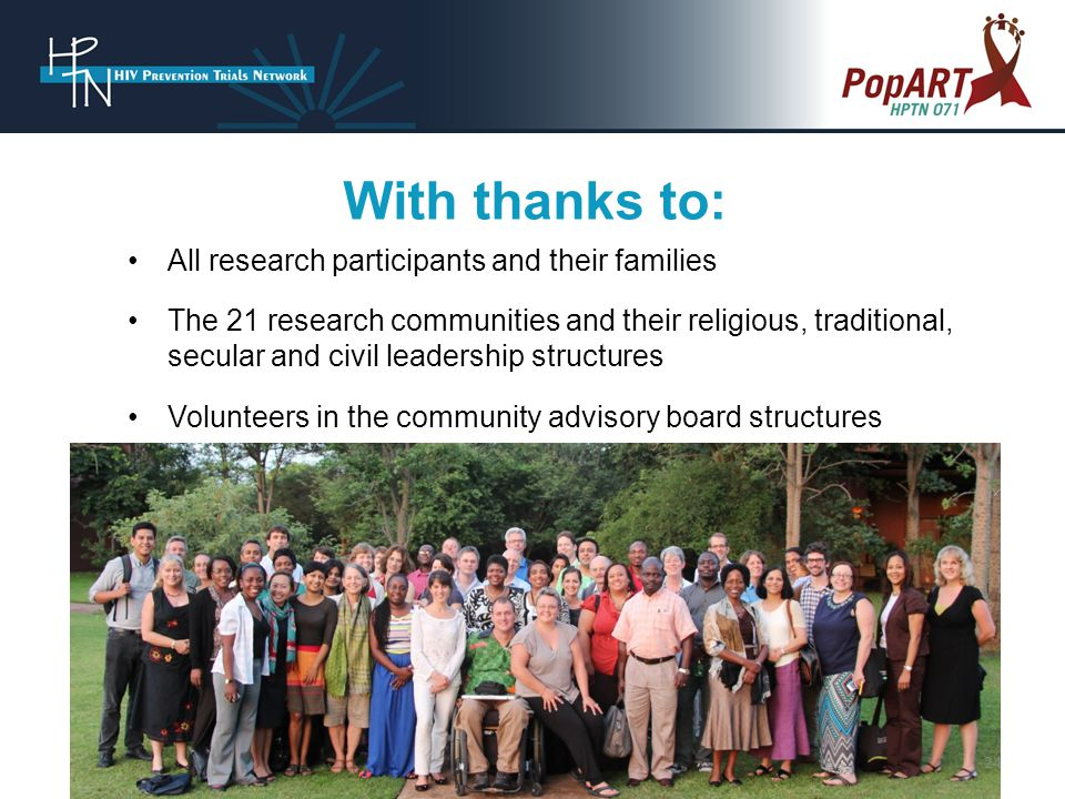 All research participants and their families The 21 research communities and their religious, traditional, secular and civil leadership structures Volunteers in the community advisory board structures With thanks to: 24