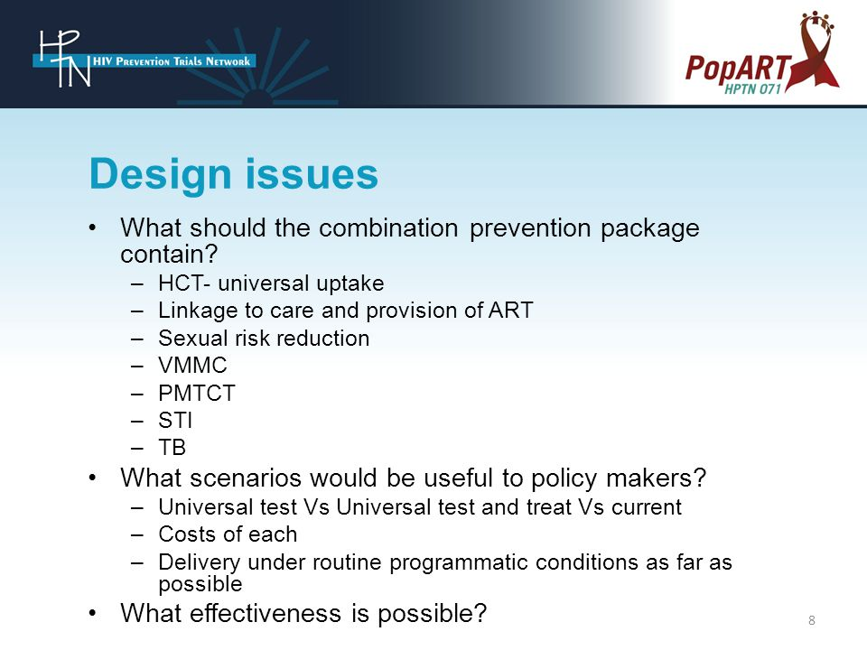 Design issues What should the combination prevention package contain.