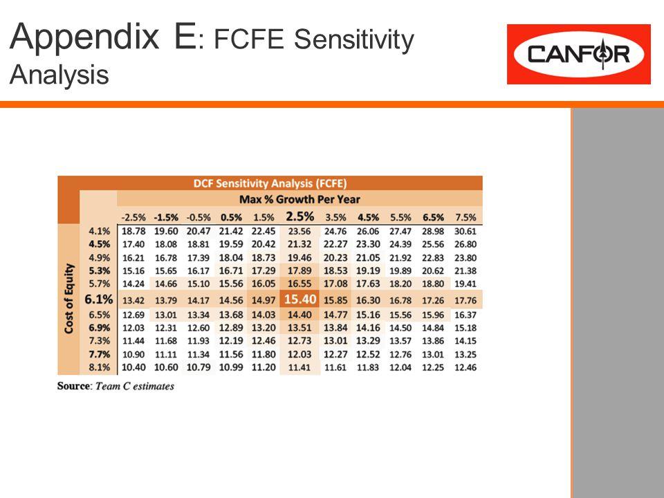 Appendix E : FCFE Sensitivity Analysis