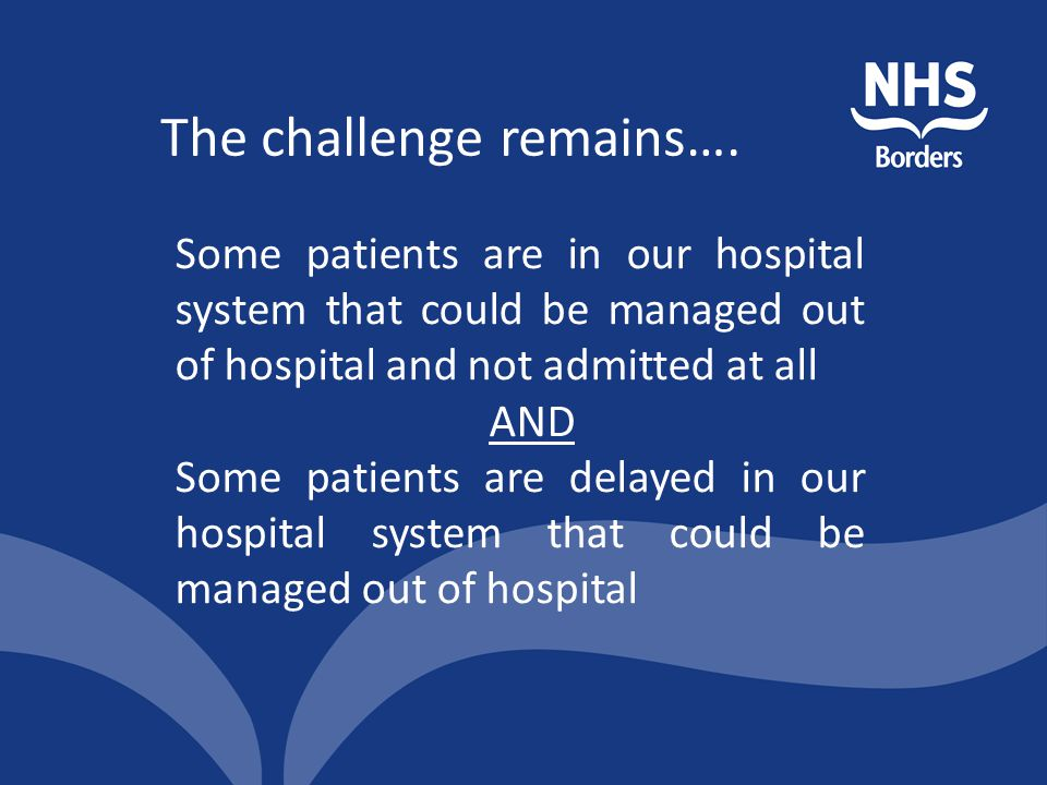 The challenge remains…. Some patients are in our hospital system that could be managed out of hospital and not admitted at all AND Some patients are d