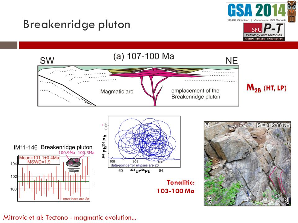 M 2B (HT, LP) Tonalitic: 103-100 Ma Breakenridge pluton Mitrovic et al: Tectono - magmatic evolution...