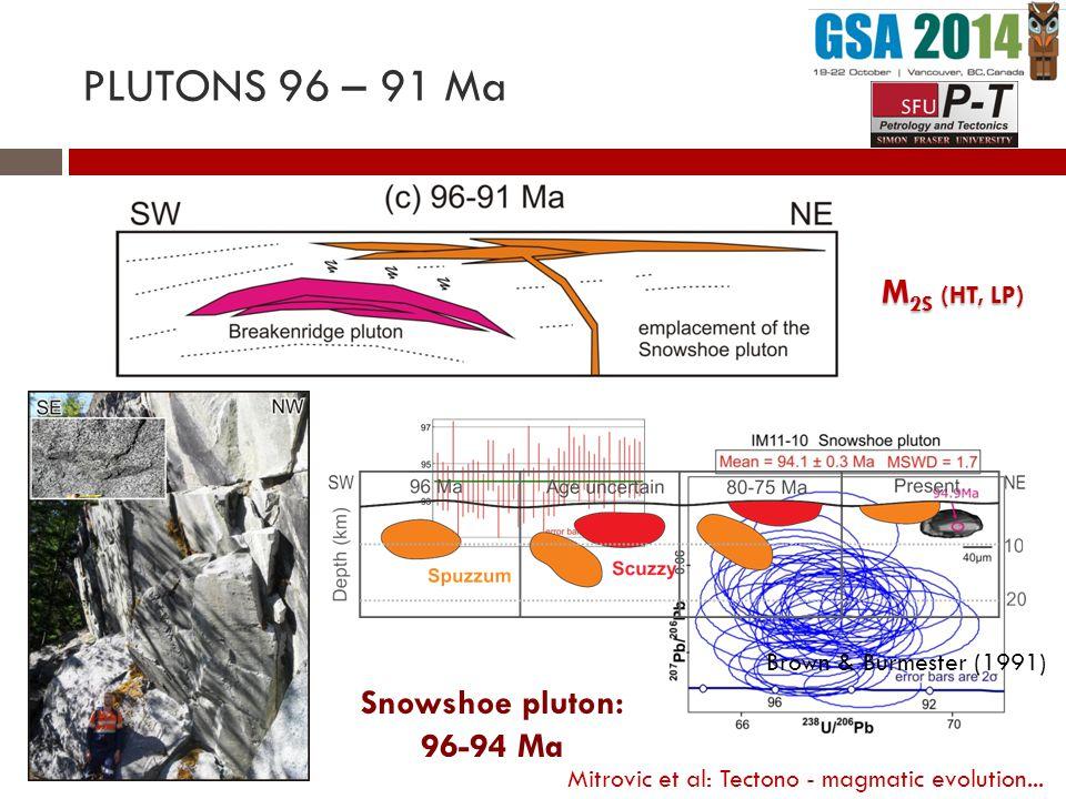 M 2S (HT, LP) Snowshoe pluton: 96-94 Ma PLUTONS 96 – 91 Ma Brown & Burmester (1991) Mitrovic et al: Tectono - magmatic evolution...