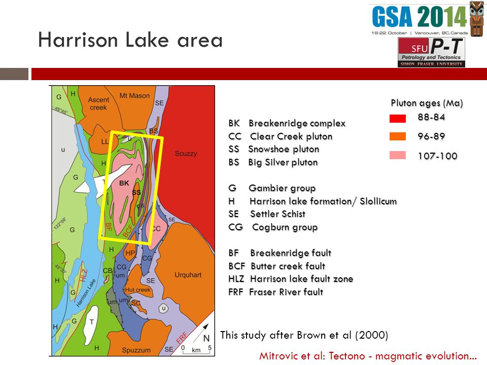 Harrison Lake area This study after Brown et al (2000) BK Breakenridge complex CC Clear Creek pluton SS Snowshoe pluton BS Big Silver pluton G Gambier group H Harrison lake formation/ Slollicum SE Settler Schist CG Cogburn group BF Breakenridge fault BCF Butter creek fault HLZ Harrison lake fault zone FRF Fraser River fault 88-8496-89107-100 Pluton ages (Ma) Mitrovic et al: Tectono - magmatic evolution...