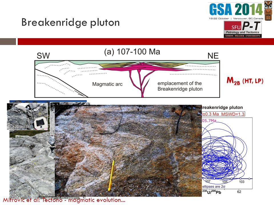 Breakenridge pluton M 2B (HT, LP) Dioritic: 107-104 Ma Mitrovic et al: Tectono - magmatic evolution...