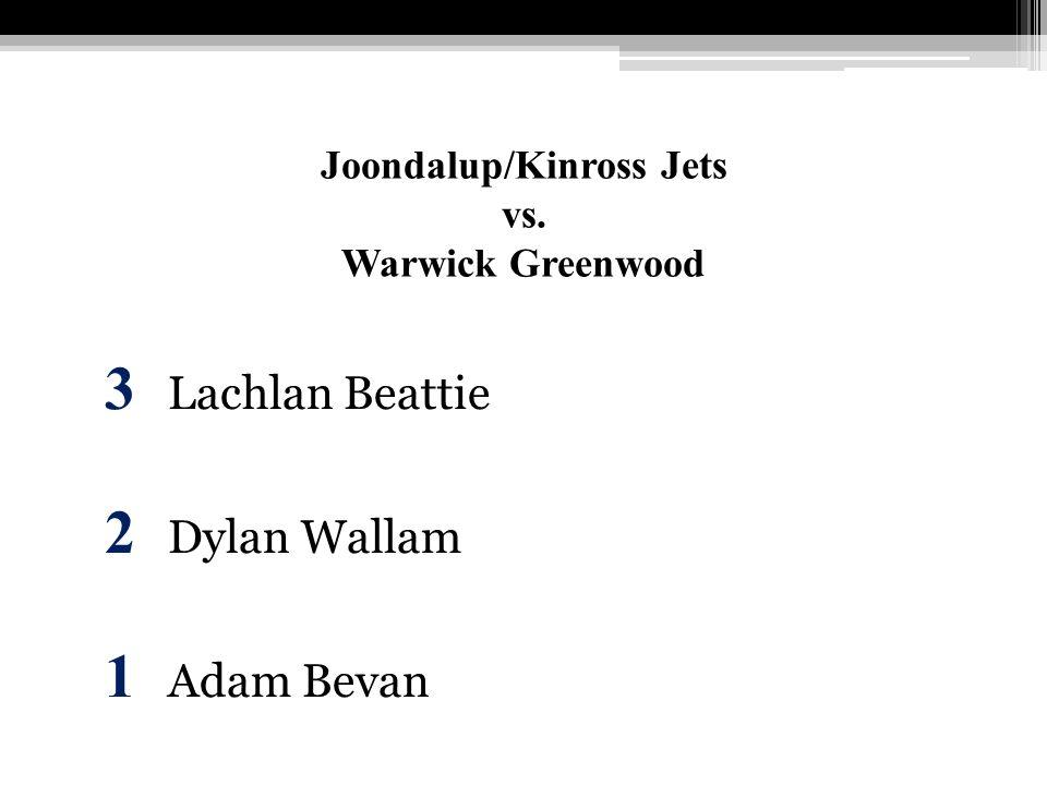 Joondalup/Kinross Jets vs. Warwick Greenwood 3 Lachlan Beattie 2 Dylan Wallam 1 Adam Bevan