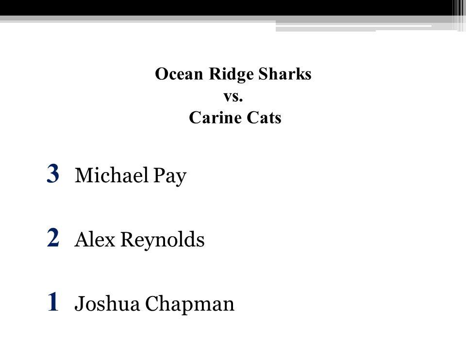 Ocean Ridge Sharks vs. Carine Cats 3 Michael Pay 2 Alex Reynolds 1 Joshua Chapman