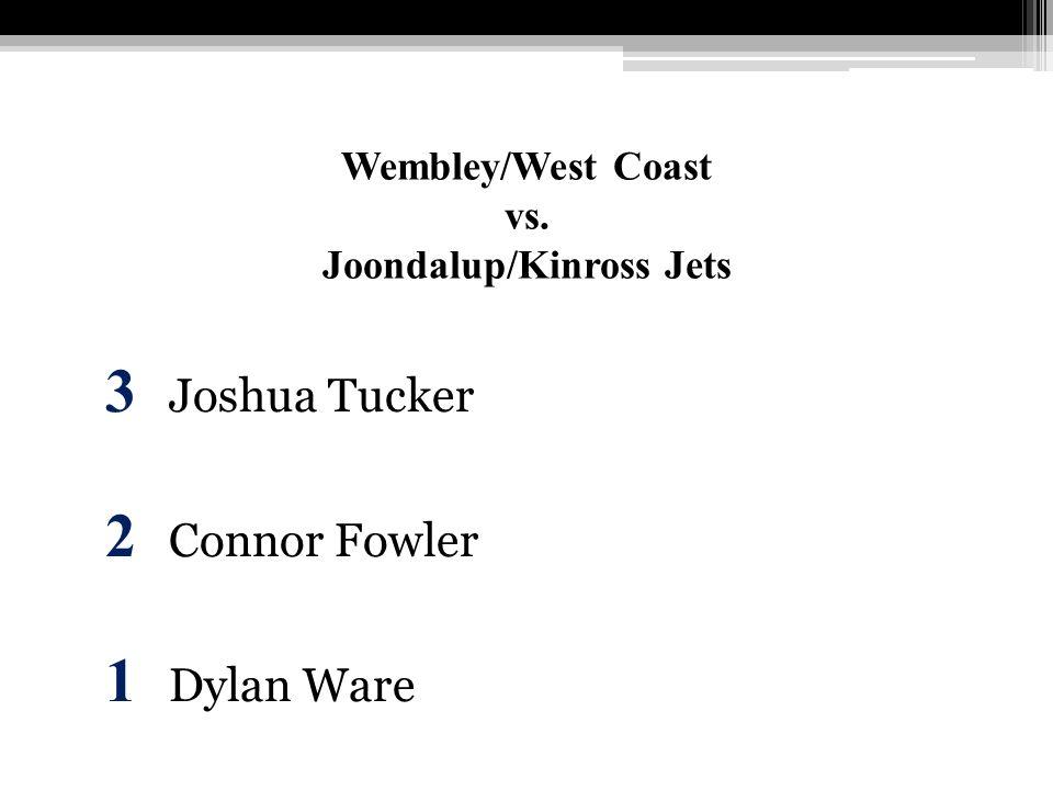 Wembley/West Coast vs. Joondalup/Kinross Jets 3 Joshua Tucker 2 Connor Fowler 1 Dylan Ware