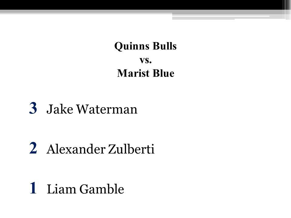 Quinns Bulls vs. Marist Blue 3 Jake Waterman 2 Alexander Zulberti 1 Liam Gamble