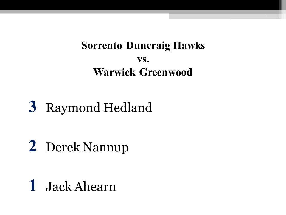 Sorrento Duncraig Hawks vs. Warwick Greenwood 3 Raymond Hedland 2 Derek Nannup 1 Jack Ahearn