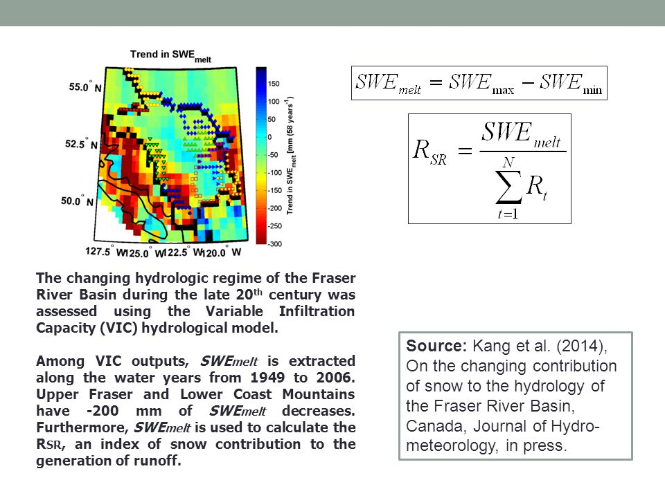 The changing hydrologic regime of the Fraser River Basin during the late 20 th century was assessed using the Variable Infiltration Capacity (VIC) hydrological model.