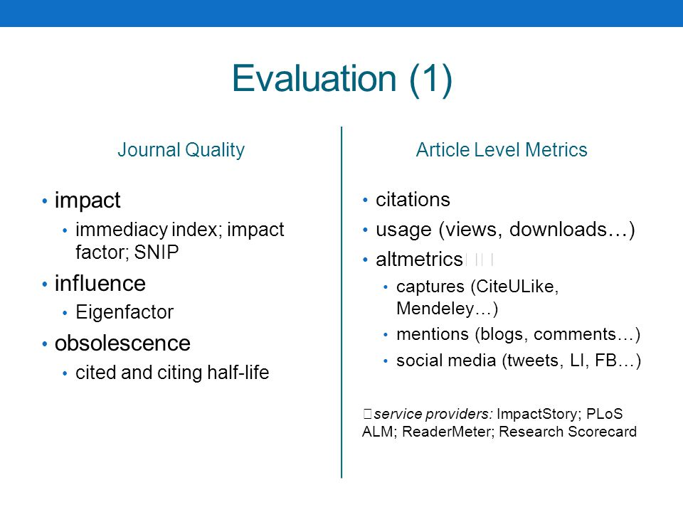 Evaluation (1) Journal Quality impact immediacy index; impact factor; SNIP influence Eigenfactor obsolescence cited and citing half-life Article Level Metrics citations usage (views, downloads…) altmetrics captures (CiteULike, Mendeley…) mentions (blogs, comments…) social media (tweets, LI, FB…) service providers: ImpactStory; PLoS ALM; ReaderMeter; Research Scorecard