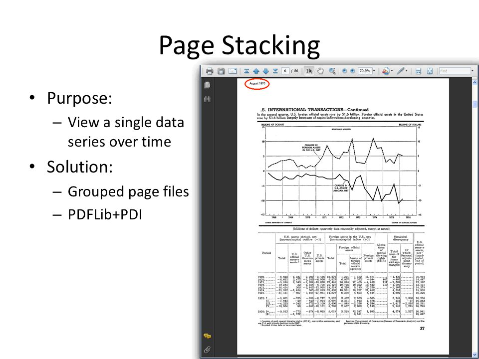 Page Stacking Purpose: – View a single data series over time Solution: – Grouped page files – PDFLib+PDI
