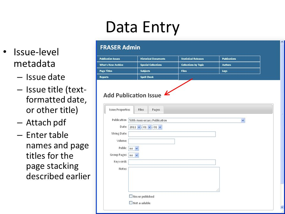 Data Entry Issue-level metadata – Issue date – Issue title (text- formatted date, or other title) – Attach pdf – Enter table names and page titles for the page stacking described earlier