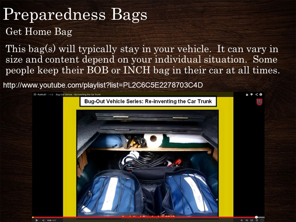 Preparedness Bags Get Home Bag This bag(s) will typically stay in your vehicle.