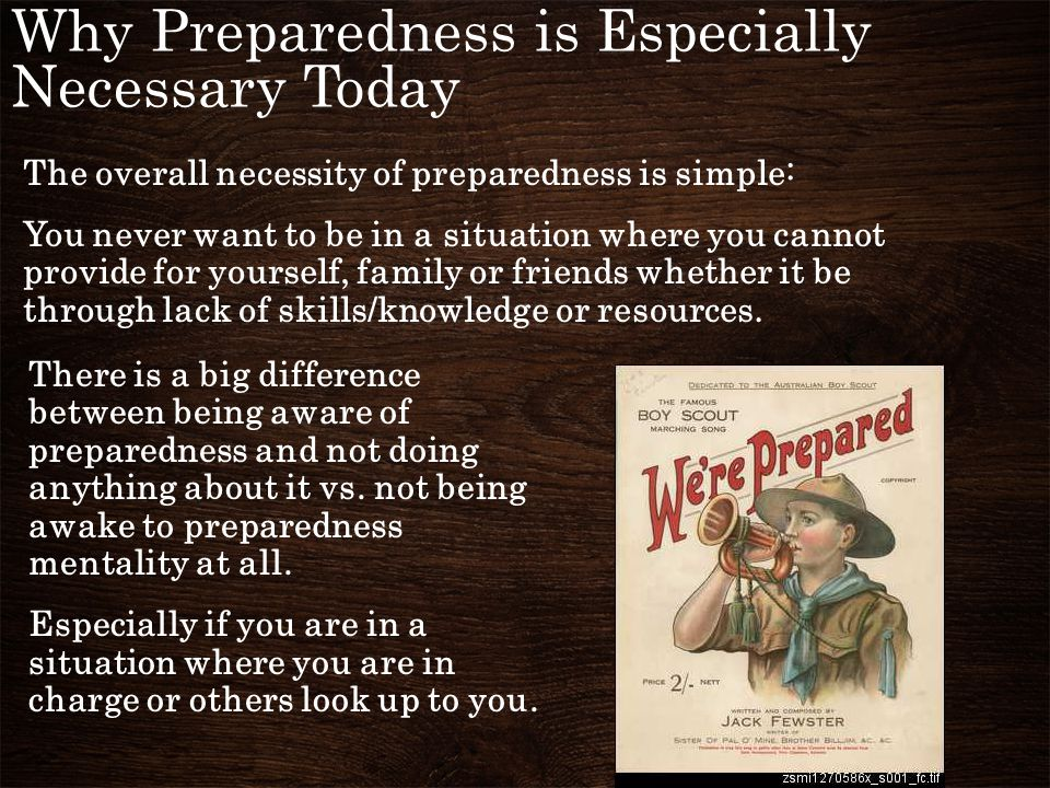Why Preparedness is Especially Necessary Today We have been conditioned to be a nation of dependence: A democracy cannot exist as a permanent form of government.