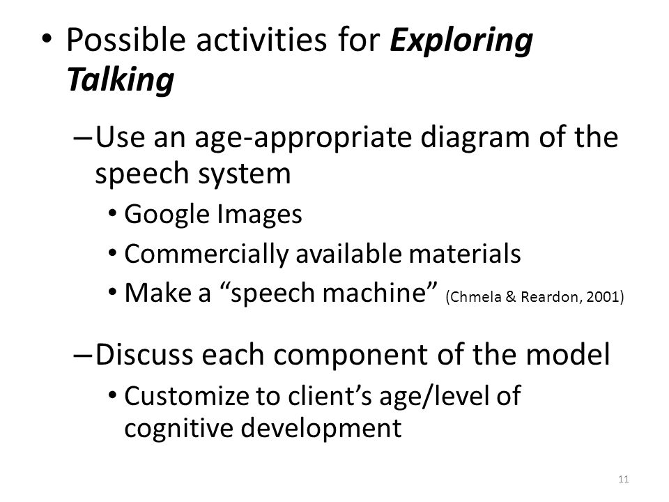 Possible activities for Exploring Talking – Use an age-appropriate diagram of the speech system Google Images Commercially available materials Make a
