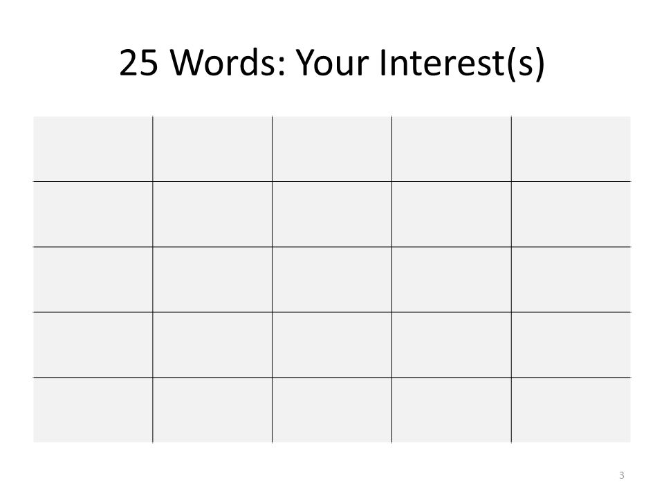 25 Words: Your Interest(s) 3