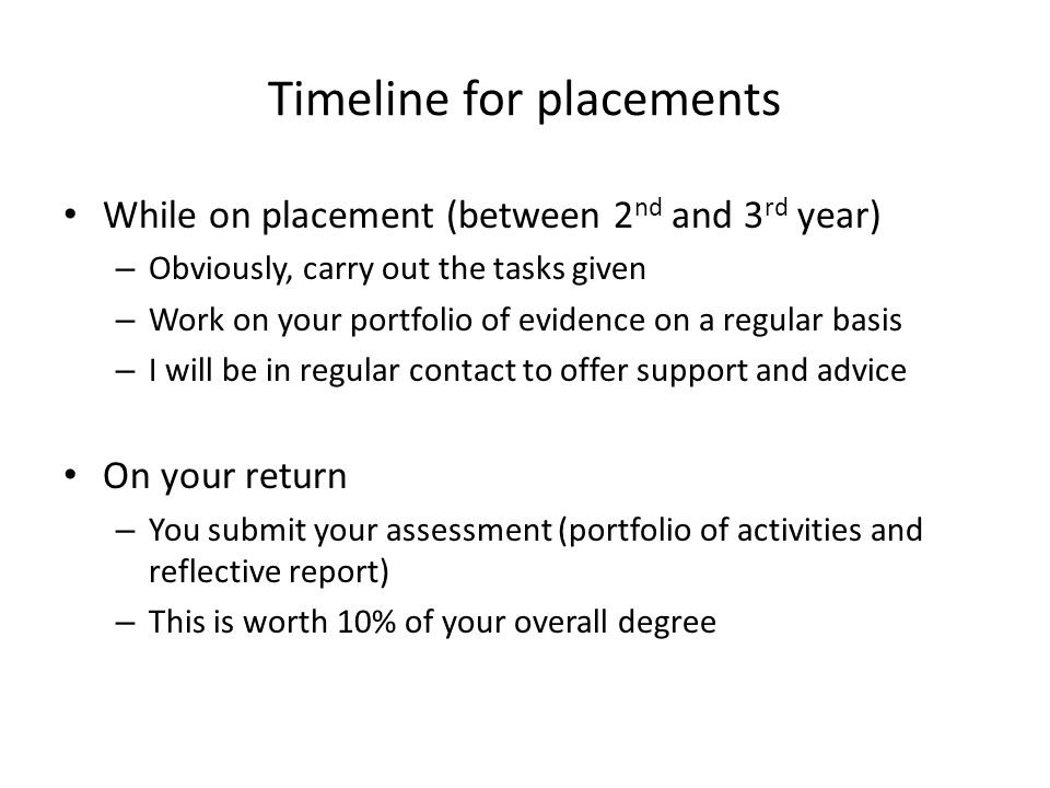 Timeline for placements While on placement (between 2 nd and 3 rd year) – Obviously, carry out the tasks given – Work on your portfolio of evidence on