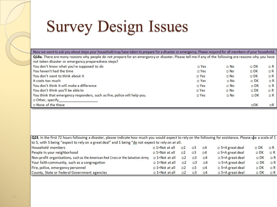 Survey Design Issues 24