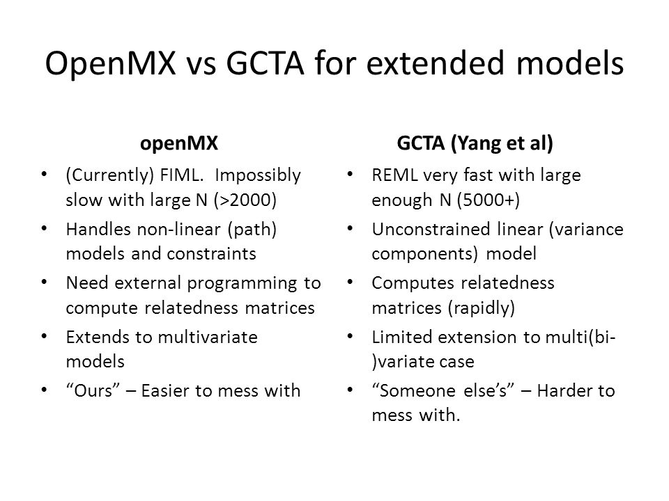 OpenMX vs GCTA for extended models openMX (Currently) FIML.